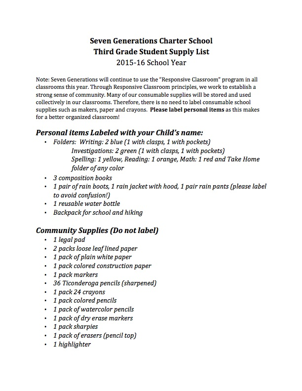 Supply Lists Seven Generations Charter School